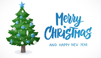 Merry Christmas card. Cartoon Christmas tree isolated on white background. Decorations with blue and white stars, balls and garlands