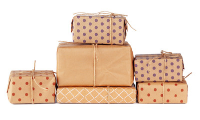 Stacked group of gift boxes isolated on white background