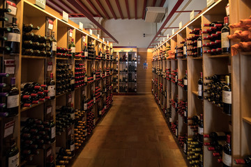 Interior of a wine shop in Saint Emilion in France. St Emilion is one of the principal red wine areas of Bordeaux and very popular tourist destination.