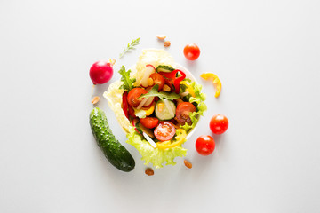 plate with fresh vegetables vegetarian food concept
