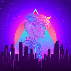Portrait of a young pretty androgynous woman with short shaved pixie undercut in retro futurism style. Vector illustration in neon bright colors. Blue short hair. futuristic synth wave