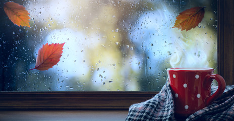 Fototapeta red cup with hot drink and wet autumnal window; Autumn season background