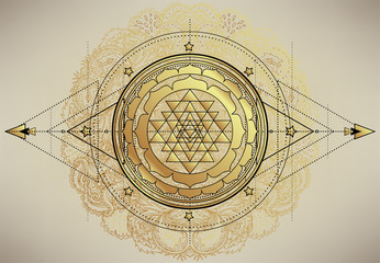 The Sri Yantra or Sri Chakra, form of mystical diagram, Shri Vidya school of Hindu tantra symbol. Sacred geometry vector design element. Vector illustration.