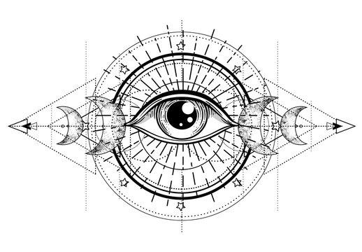 Eye of Providence. Masonic symbol. All seeing eye inside triple moon pagan Wicca moon goddess symbol. Vector illustration. Tattoo, astrology, alchemy, boho and magic symbol.