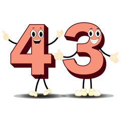 Number Forty Three - Cartoon Vector Image