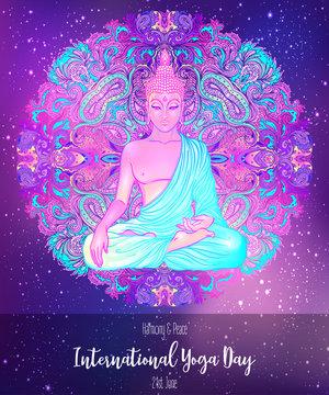 Yoga card design. Colorful template for spiritual retreat or yoga studio. Ornamental business cards, oriental pattern. Vector illustration.