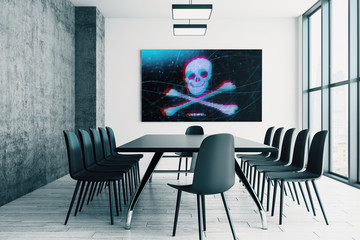 Conference room interior with hacking picture on screen monitor on the wall. Data safety concept. 3d rendering.
