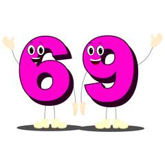 """Number Sixty Nine - Cartoon Vector Image"""