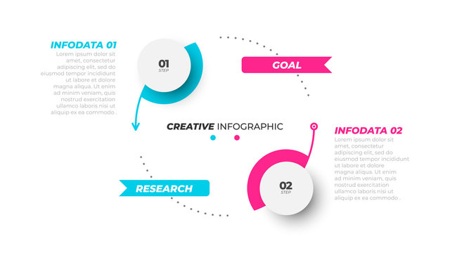 Busines infographic template. Visualization creative concept with 2 options, processes. Can be used for workflow diagram, info chart, presentations.