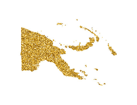 Vector isolated illustration with simplified Papua New Guinea map. Decorated by shiny gold glitter texture. New Year and Christmas holidays' decoration for greeting card