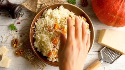 Fotobehang - pumpkin risotto with parmesan