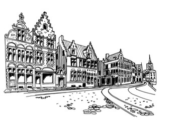 Wall Mural - Vector sketch of Traditional architecture in the town of Ghent, Belgium
