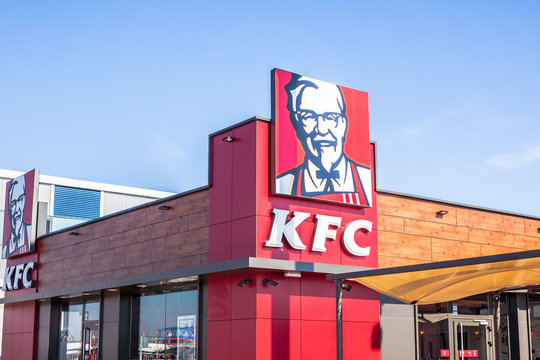 KFC fast food restaurant logo at its building