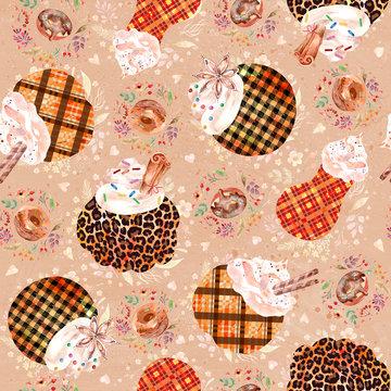Watercolor seamless pattern, Pumpkin spice latte, coffee, thanksgiving autumn background, leopard animal print