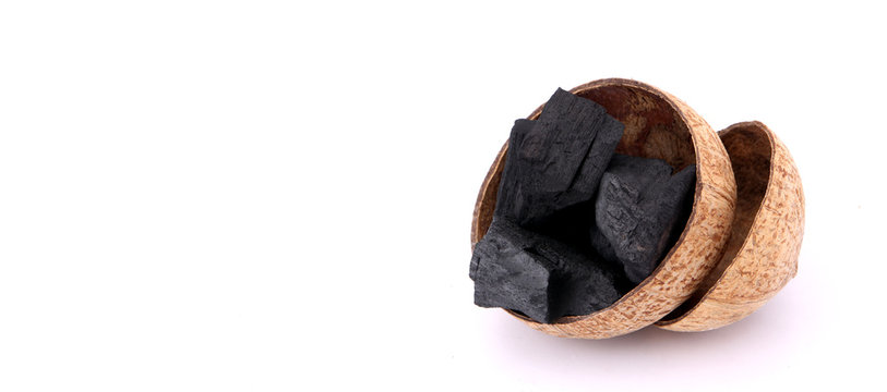 coconut charcoal isolated on white  background.