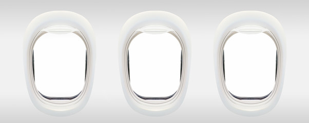 Poster Airplane Blank windows of airplane from inside, aerial travel concept