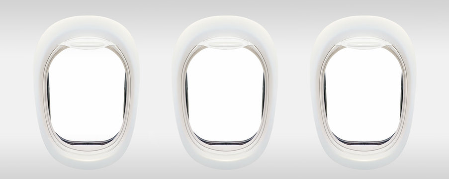 Blank windows of airplane from inside, aerial travel concept