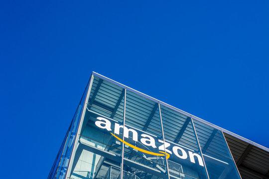 Amazon logo at office building, Munich Germany
