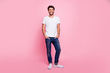 Full length photo of charming positive macho man arabian person have spring vacation walk with his girlfriend wear trend modern outfit isolated over pastel color background Wall mural