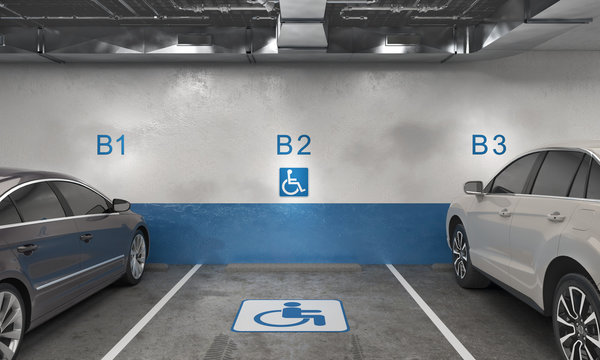 Free handicapped place between two occupied, underground parking, 3d illustration