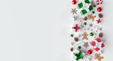Fotomurales - Christmas white background with christmas balls and decoration - 3d rendering