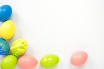 easter eggs concept. color eggs on white background.