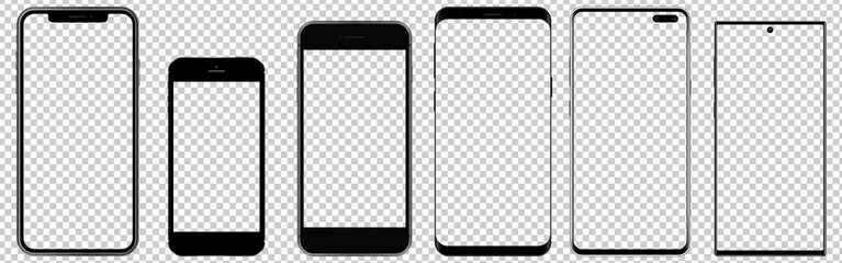Set of realistic new mobile phones with transparent screens. Ideal for marketing, app design, ui and ux. Vector graphic