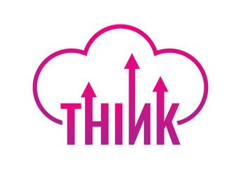 think logo. think kelimesi oklar ve bulut sembolü.