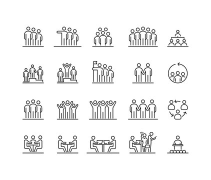 Group of people 20 icons set simple line flat illustration