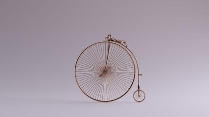 Photo sur Aluminium Bronze Penny Farthing Bicycle Left View 3d illustration 3d render