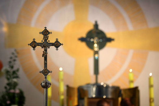 Cross in the church during the festivities