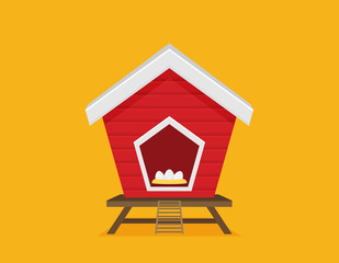 Cartoon vector icon of bright red chicken coop, fresh eggs in the nest.