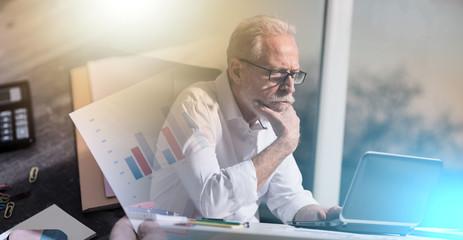Portrait of thoughtful senior businessman, hard light; multiple exposure