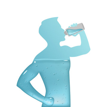 Vector silhouette of a man is filled with clear water on a white background. Aqua balance in human body. Healthy lifestyle