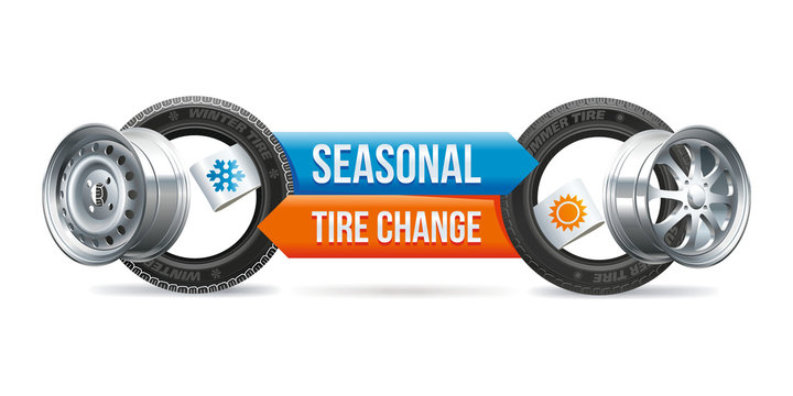 Seasonal change of tires on the car with the indication of the seasons of operation.