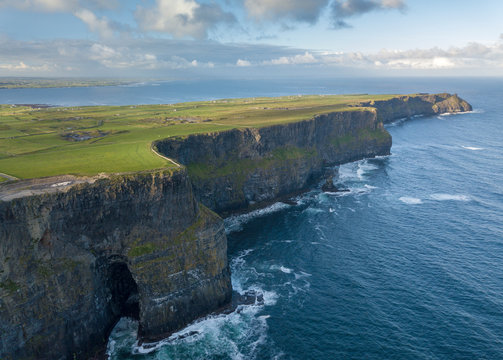Cliffs of Moher aerial view at sunrise