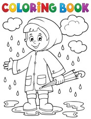 Coloring book girl in rainy weather 1