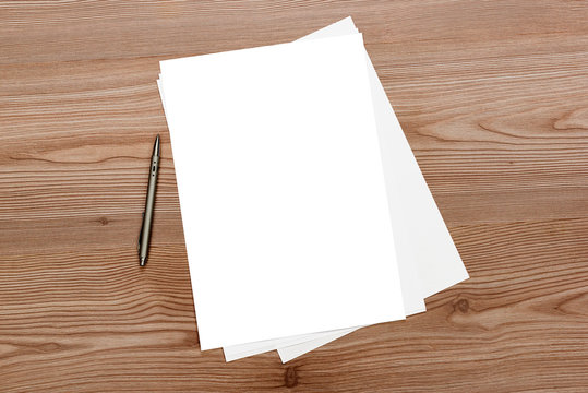 Blank paper on the desk