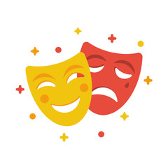 Comedy and tragedy masks. Yellow funny and red sad mask, cartoon style. Happy and unhappy traditional symbol of theater. Vector illustration flat design. Isolated on white background.