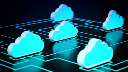 Fototapete - Cloud Computing Network concept
