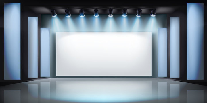 Exibition in art gallery. Projection screen on stage. Free space for advertising. Vector illustration.