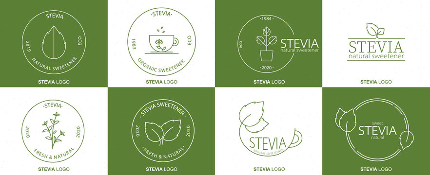 Stevia sweetener logo design. Vector spoon icon. Dietary supplements. Healthy natural food organic.