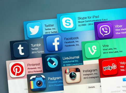 Popular social networking applications on an Apple macbook display. Include: facebook, instagram, twitter, skype and other