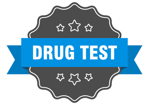 drug test blue label. drug test isolated seal. drug test