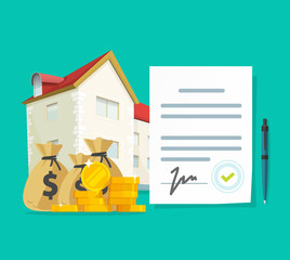 Real estate contract or property mortgage loan signed agreement vector illustration, flat cartoon house or apartment with financial document, investment or purchase, credit or rental deal budget