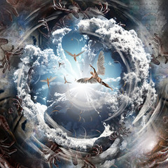 Angels inside the Vortex of Souls. Inscriptions in Arabic