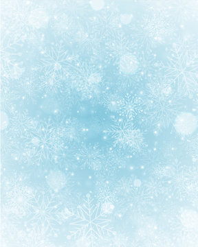 Christmas winter background magic snow sparkles lights and snowflakes with blank copy space vector illustration