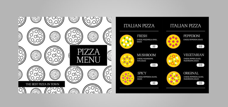 Dinning menu with different pizzas for cafe, restaurant, pizzeria, delivery, bakery. Vector black and white template with 4 pages. Standard scaled 8,5*14 in. size