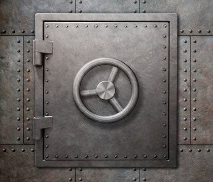 Bank vault or undeground shelter door on steam punk metal background 3d illustration