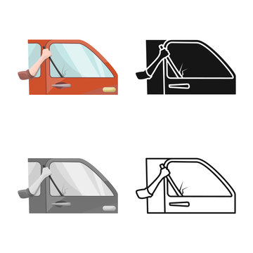 Isolated object of car and theft icon. Set of car and auto stock vector illustration.